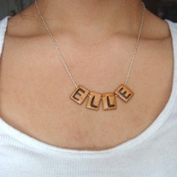 Scrabble Piece Personal Name Necklace by SimplyEncharming on Etsy