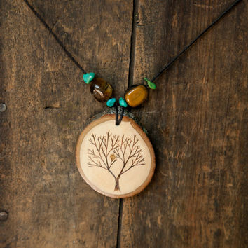 Wood Burned Tree Pendant with Turquoise and Tiger's Eye semiprecious stones on natural hemp cord necklace