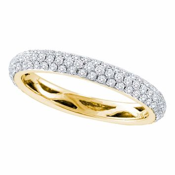 14kt Yellow Gold Womens Round Pave-set Diamond Wedding Band 3/4 Cttw