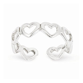Sterling Silver Cut-out Hearts Toe Ring, Best Quality Free Gift Box Satisfaction Guaranteed