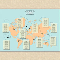 World Map Wedding Seating Chart , Map Wedding Table Plan, Wedding Seating, Travel Wedding Theme, Printable Seating Chart