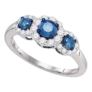 10kt White Gold Women's Round Blue Color Enhanced Diamond 3-stone Bridal Wedding Engagement Ring 1.00 Cttw - FREE Shipping (USA/CAN)