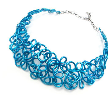 Blue Collar Necklace Turquoise Statement Jewelry