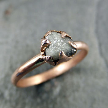 raw diamond solitaire engagement ring rough 14k rose gold wedding ring diamond wedding set stacking ring