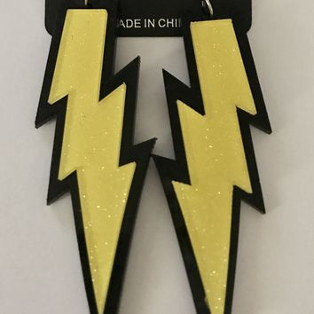 "4"" Yellow Lightning Bolt Earrings"