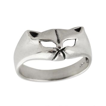 Cat Face Ring - 925 Sterling Silver - Grumpy Cat NEW Meow Kitty Pet Jewelry