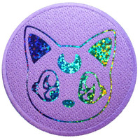 Rainbow Sparkle Lilac Kawaii Kitten Vinyl Print Iron On Patch Embroidery DIY Holographic Iridescent Glitter Anime Manga Japan Crescent Moon