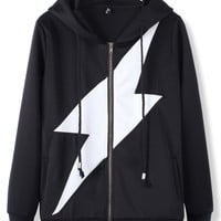 'The Alejandra' Black  Lightning Print Hooded Sweatshirt