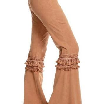 Mia Boho Tan Bell Bottom Pants