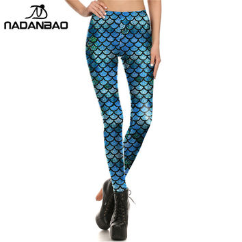 NADANBAO Brand New Scale Women leggings Mermaid Leggins Printed leggins Woman Clothings