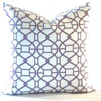 Trellis pillow cover white and purple fretwork geometric print, Fabric both sides 20 x 20