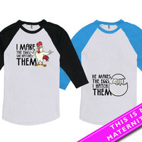Matching Shirts For Couples Matching Easter Shirts Pregnancy Announcement Expecting Parents American Apparel Unisex Raglan MAT-486-487