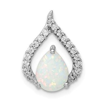 Sterling Silver CZ And White Lab Created Opal Pear Chain Slide