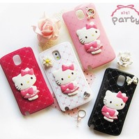 Hello Kitty Party Mirror Solid Hand Phone Case for Galaxy Note 3