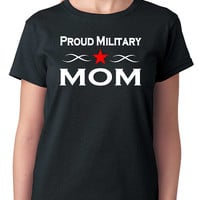 Military T-Shirt, Proud Military Mom, Proud Mother Armed Forces Shirt, God Bless America