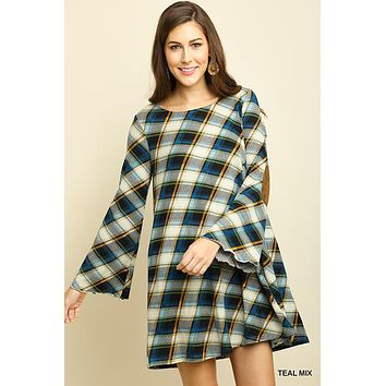 Umgee plaid knit shift dress with bell sleeves