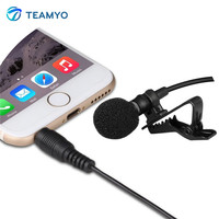Teamyo Dual-Head Clip on Mini Microphone Lavalier Omnidirectional Condenser Recording Mic for iPhone Sumsang Xiaomi Phone