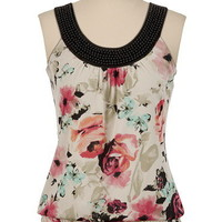 Smocked Bottom Beaded Floral Top