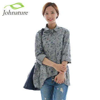 Johnature  New Women Shirt Cotton Linen Button White Blue Floral Turn-down Collar Irregular Plus Size Solid Loose Blouse