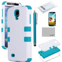 Galaxy S4 Case, S4 Case - ULAK Hybrid Shock Resistant Rubber Case Cover for Samsung Galaxy S4 IV i9500 3in1 Hard Plastic +Soft Silicone ( White+Blue)