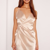 Missguided - Silky Wrap Strappy Dress Nude
