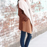 Cozy Fireside Suede + Fur Cardigan {Brown Mix}