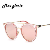 Pink Color 2016 New Retro Alloy CatEye Sunglasses Metal Shades Men Women Designer Eyewear Outdoor Cute Glasses Oculos Sun