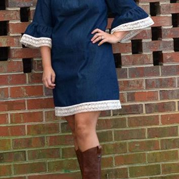 Navy Blue Patchwork Lace Hollow-out Pleated Flare Sleeve Cute Mini Dress