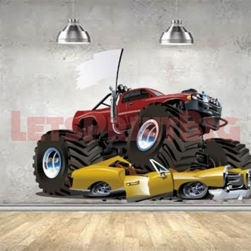 Monster Truck Car Smash WALL DECAL REMOVABLE REPOSITIONABLE