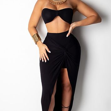 Last Minute Escape Strapless Ruched Bandeau Top Split Wrap Twist Knot Maxi Casual Two Piece Dress - 4 Colors Available