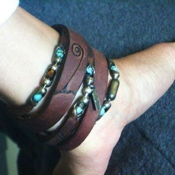 The Wanderer, Leather Wrap Bracelet , Cuff,  Bangle, Turquoise, TigerEye, Necklace or Ankle Wrap, Womens or Mens Leather