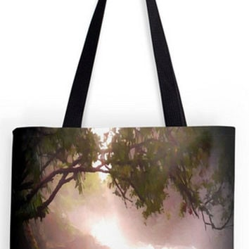 ON SALE Fine art Tote Bag, landscape, waterfall, trees, nature original, oil painting,  abstract gothic pagan impressionist double sided pri