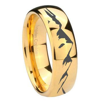 8MM Mirror Dome Sound Wave I love you 14K Gold IP Tungsten Carbide Laser Engraved Ring