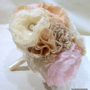 Shabby Chic Pink, Champagne, IvoryWedding Bouquet with Brooches