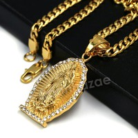 316L Stainless Virgin of Guadalupe Blinged Out Out Pendant w/ 4m Cuban Chain