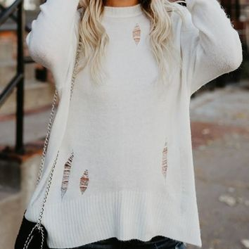 White Cut Out Irregular Lacerated Round Neck Long Sleeve Slouchy Pullover Sweater