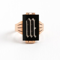 Antique Victorian 10k Rose Gold Letter M Signet Ring - Late 1800s Size 9 Black Onyx and White Chalcedony Fine Mens Initial Jewelry