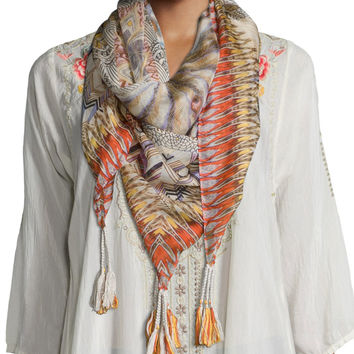 Retro Feather Silk Tassel Scarf, Size: ONE SIZE, MULTI - Johnny Was Collection