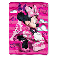 Minnie Mouse Travel In Style  Micro Raschel Blanket (46in x 60in)