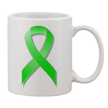 Lyme Disease Awareness Ribbon - Lime Green Printed 11oz Coffee Mug