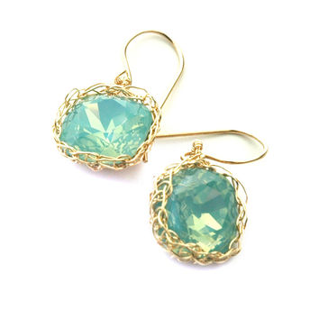 Ocean green Swarovski glass crystal earrings , mint dangle earrings in gold filled
