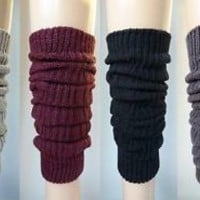 Cable Knit Leg Warmers -Black Gray Beige Purple Burgundy Maroon Brown Cream Navy