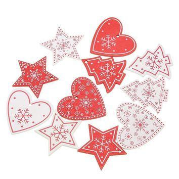 10PCS DIY Tree/Heart/Star Wooden Pendants Ornaments For Christmas Party Xmas Tree Ornaments Kids Gifts Decorations White Red