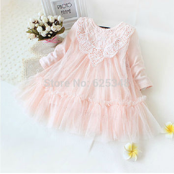 Retail! New 2016 brand newborn baby girls dress full of lace baby party dress infant babywear kids children baby clothing