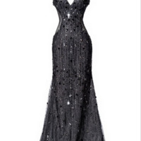 KC131517 Jeweled Black Prom Dress by Kari Chang Couture