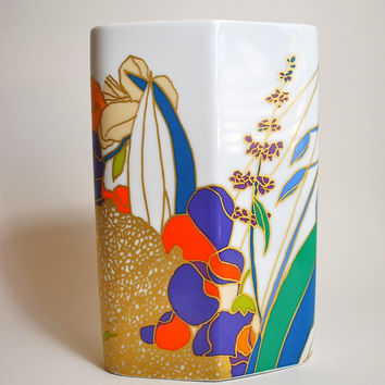 Vintage Hand Painted Mid Century Vase W Bauer Rosenthal Studio L