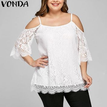 Women's Sexy White Lace Cold Shoulder Blouse.   In Sizes Small to 5XL.   ***FREE SHIPPING***