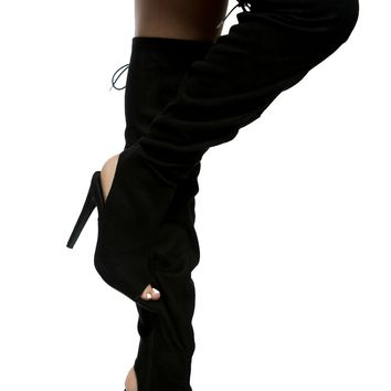 Black Faux Suede Thigh High Peep Toe Boots @ Cicihot Boots Catalog:women's winter boots,leather thigh high boots,black platform knee high boots,over the knee boots,Go Go boots,cowgirl boots,gladiator boots,womens dress boots,skirt boots.