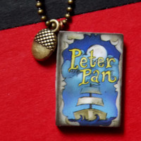 Peter Pan Book Charm Necklace Wendy's Kisses Acorn. 18 Inch Ball Chain.
