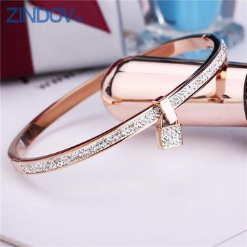 2018 New Fashion Stainless Steel Bangles Bracelet For Women Padlock Gold Rose Gold Silver Color Key Charm Famous Brand Jewelry